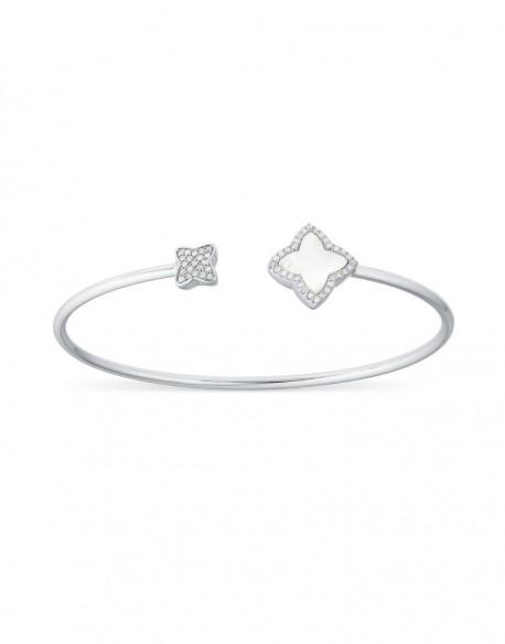 """Bracelet jonc canne avec fleurs en nacre et diamants """"Senzia"""""""