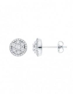 """Boucles d'oreilles """"cisca""""multi-pierres diamants entourage sertis griffes"""